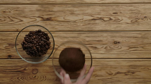 Presentation different types of coffee: coffee beans, fresh ground, granulated Live Action
