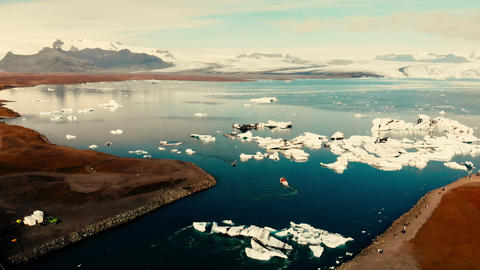 Jokullsarlon glacial lake in southwest Iceland. Aerial view of icebergs in the GIF