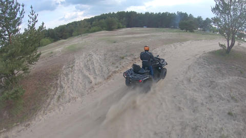 Off-road driving on an ATV, high speed footage from an FPV drone Live Action