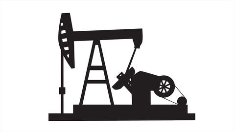 Pump Jack Oil Crane.Simple concept using line drawing animation to depict dirty energy resources Animation