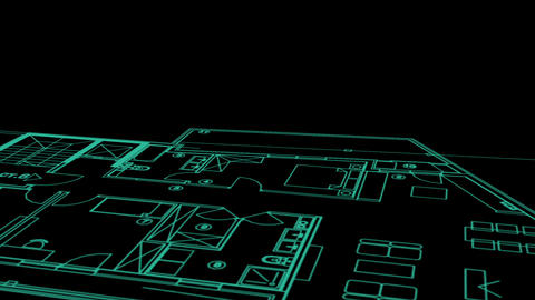 abstract architecture background: blueprint house plan and wire frame model of building Animation