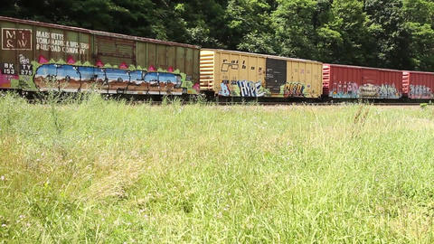 A Cargo Train With Graffiti Art On Its Cargo Container Traveling On A Railroad Live Action