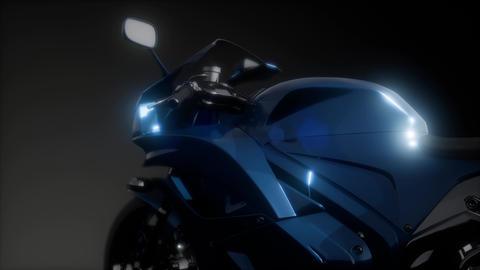 moto sport bike in dark studio with bright lights GIF
