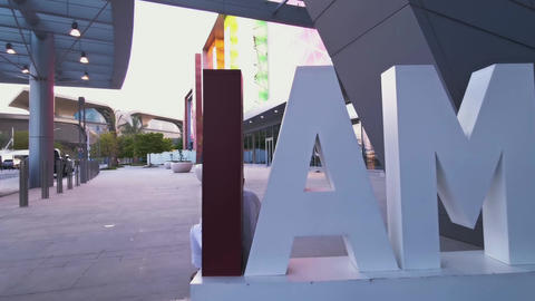 "The ""I AM QATAR"" sign outside the main entrance to the Mall of Qatar Live Action"