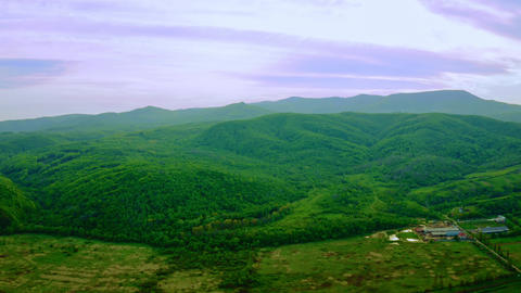 aerial view on mountains showery scenery Live Action