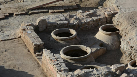 Archaeological elements of an excavation in Malaga Spain Live Action