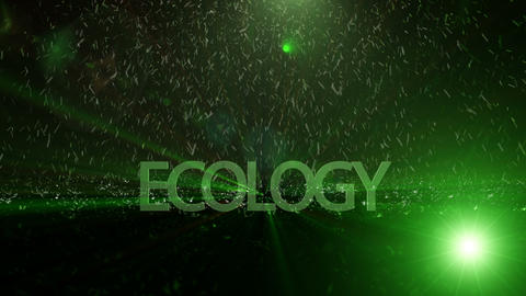 Powerful technology light video animation with text ECOLOGY, loop HD Animation