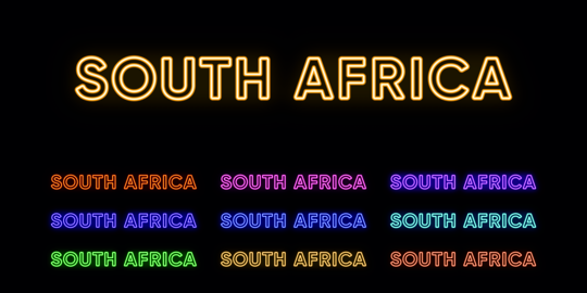 Neon South Africa name, African Country. Neon text of South Africa. Vector set of glowing Headlines Vector