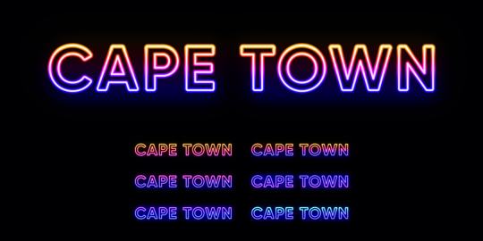 Neon Cape Town name, City in South Africa. Neon text of Cape Town city. Vector set of glowing Vector