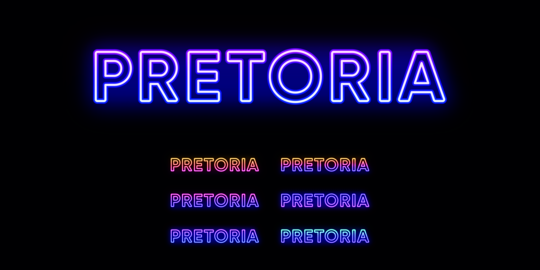 Neon Pretoria name, capital City in South Africa. Neon text of Pretoria city. Vector set of glowing Vector