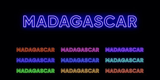 Neon Madagascar name, African island Country. Neon text of Madagascar. Vector set of glowing Vector