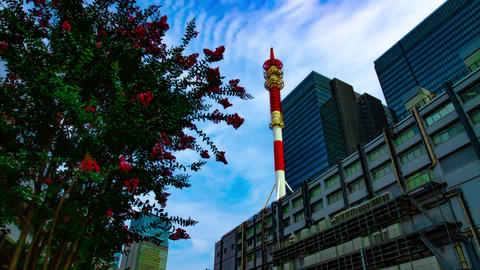 A timelapse of cloud at the business town in Tokyo wide shot tilt GIF