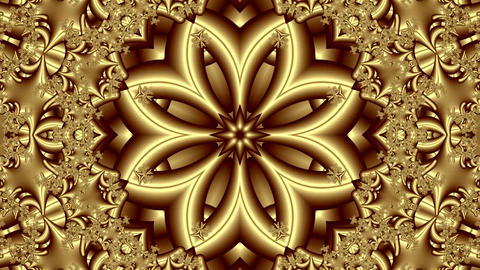 Animation Of Abstract Background In Gold Color With Kaleidoscopic Ornament