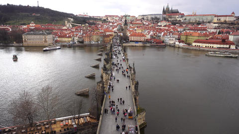 Charles Bridge Prague with people on it GIF