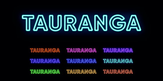 Neon Tauranga name, city in New Zealand. Neon text of Tauranga city Vector