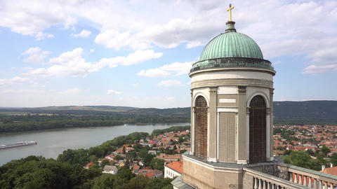 One Of The Towers Of Esztergom Cathedral With Danube River And Boat ライブ動画