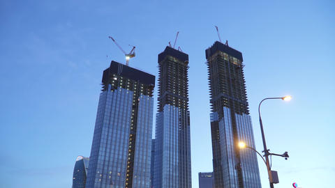 High-rise buildings under construction Capital Towers on the Moskva River Live Action