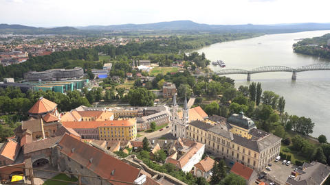 View from Esztergom cathedral of Danube river with bridge ライブ動画