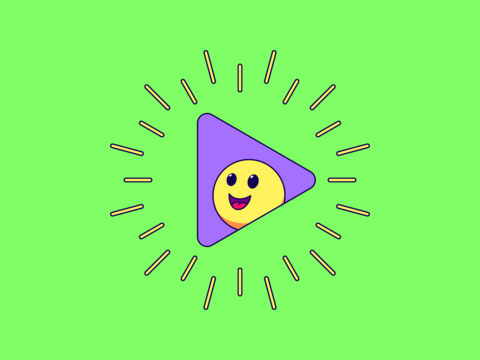 Cartoon composition with play sign surrounded rays and cheerful emoji Vector