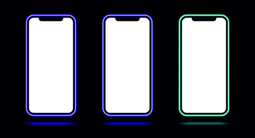 Phone mockup with neon border, violet blue cyan color. Modern set of phone templates with creative ベクター