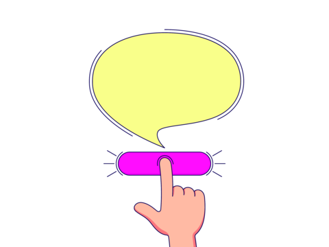 Call to action with copy space for text. Cartoon human hand push the button by forefinger Vector