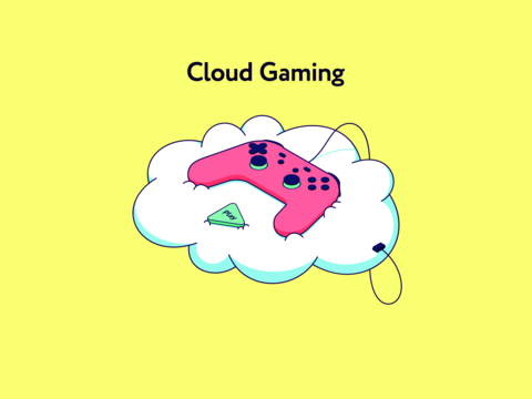 Cloud gaming platform that allows play by gamepad in video games across TV, desktop, laptop, tablet Vector