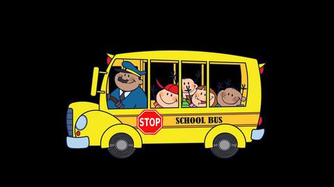 School Bus With Happy Children Cartoon Characters CG動画
