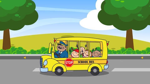 School Bus With Happy Children Cartoon Characters Going To School Animation