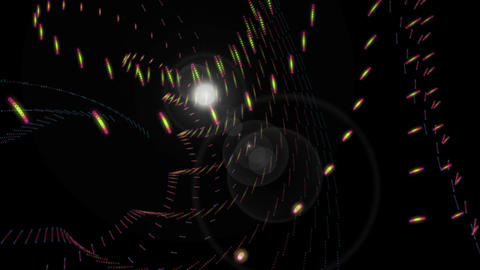 Futuristic video animation with particle object and light flare in motion, loop HD CG動画