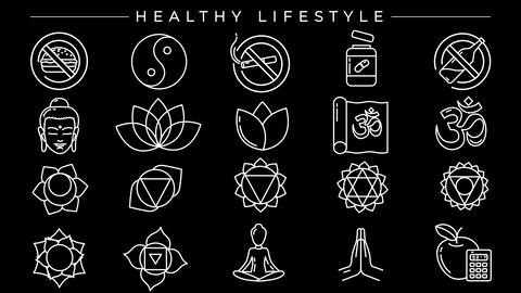 Healthy Lifestyle concept line style icons set Animation