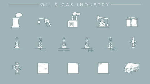 Collection of oil and gas technology icons on the alpha channel Animation