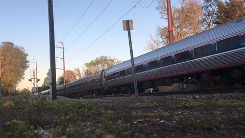 Train Used As Public Transportation Traveling On The Rail Track Live Action