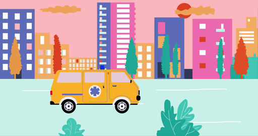 Ambulance past by empty streets in city during summer sunset. Outbreak ライブ動画