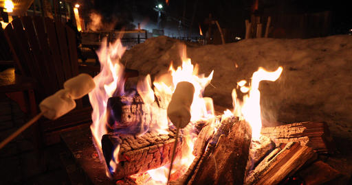 People roasting marshmallows in firepit having afterski fun leisure activity at ライブ動画