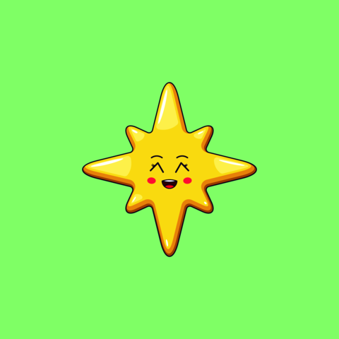 Cartoon Kawaii Golden Star with Grinning Face. Cute Christmas and New Year Star with 8 Rays Vector