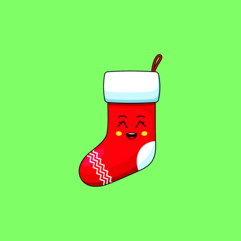 Cartoon kawaii Santa Sock with Grinning face. Cute Santa Claus Sock for Christmas celebration Vector