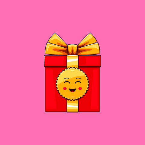Cartoon kawaii Gift Box with Smile and Smiling eyes. Cute red Gift with golden Bowknot Vector