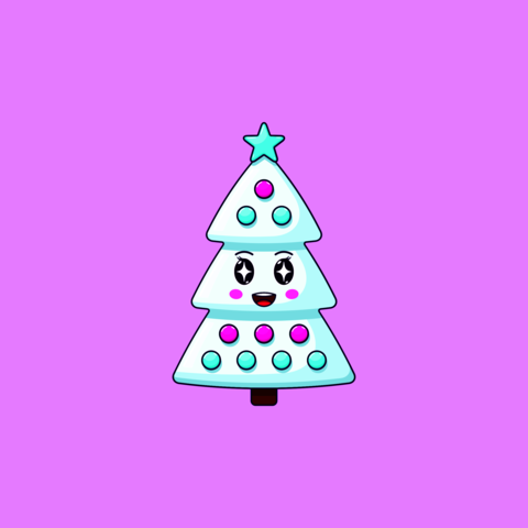 Cartoon kawaii Christmas tree with Admiring face. Cute white Christmas tree with decorations Vector