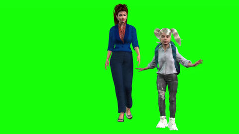 853 4K SCHOOL CHILDREN 3D computer generarated avatars mother and daugther go to school Animation