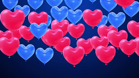 Red and blue Balloons heart shape Flying bunch 4K GIF