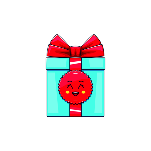 Cartoon kawaii Gift Box with Grinning face. Cute blue Gift with red Bowknot Vector