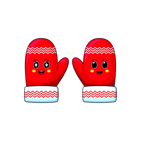 Cartoon kawaii Mittens with Admiring and Cheerful face. Cute red Mittens with pattern for Christmas Vector