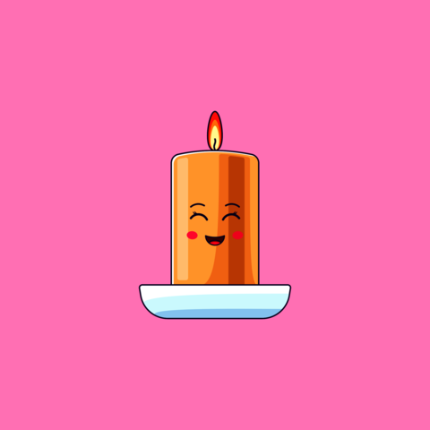 Cartoon kawaii Wax Candle with Smile and Smiling Eyes. Cute burning Candle in the Cup Vector