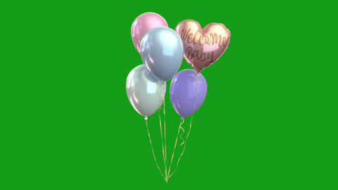 Decorative balloons motion graphics with green screen background Videos animados
