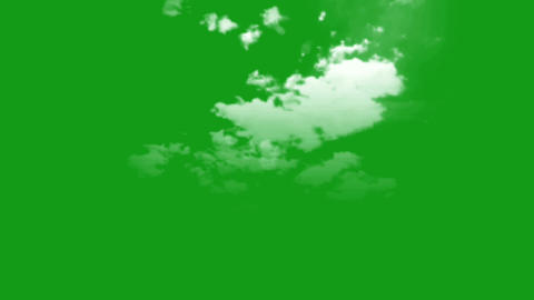 Moving clouds motion graphics with green screen background Animation