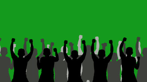 Silhouette crowd motion graphics with green screen background CG動画
