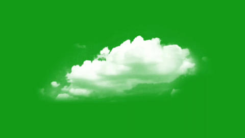White clouds motion graphics with green screen background Animation