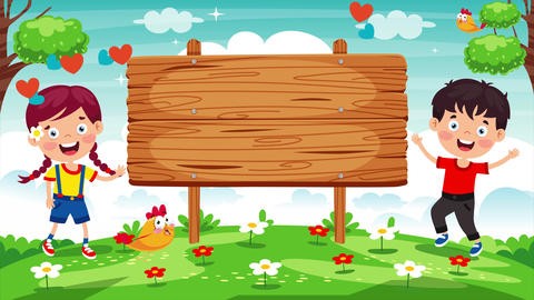 Children And Blank Wooden Sign Board Animation