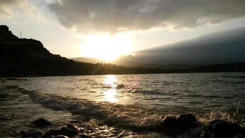 Evening sun on the sea Footage