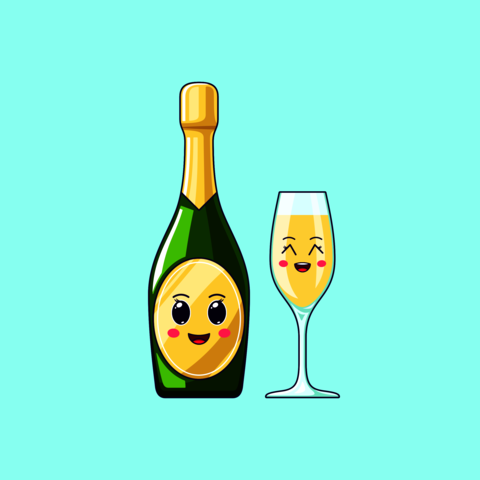 Cartoon kawaii Champagne with Cheerful face. Cute Champagne bottle with Wineglass Vector
